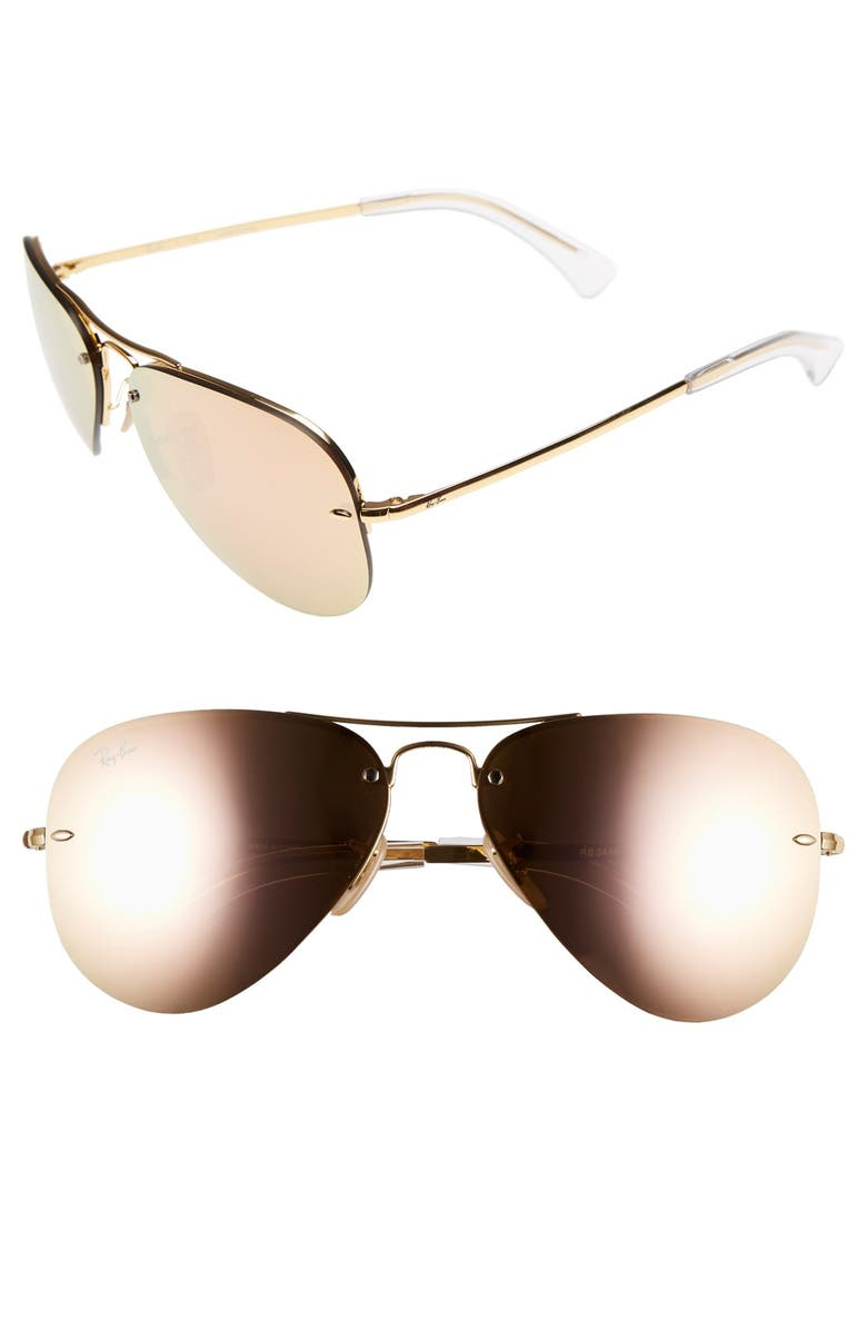 RAY-BAN Highstreet 59mm Semi Rimless Aviator Sunglasses, Main, color, BROWN/ PINK