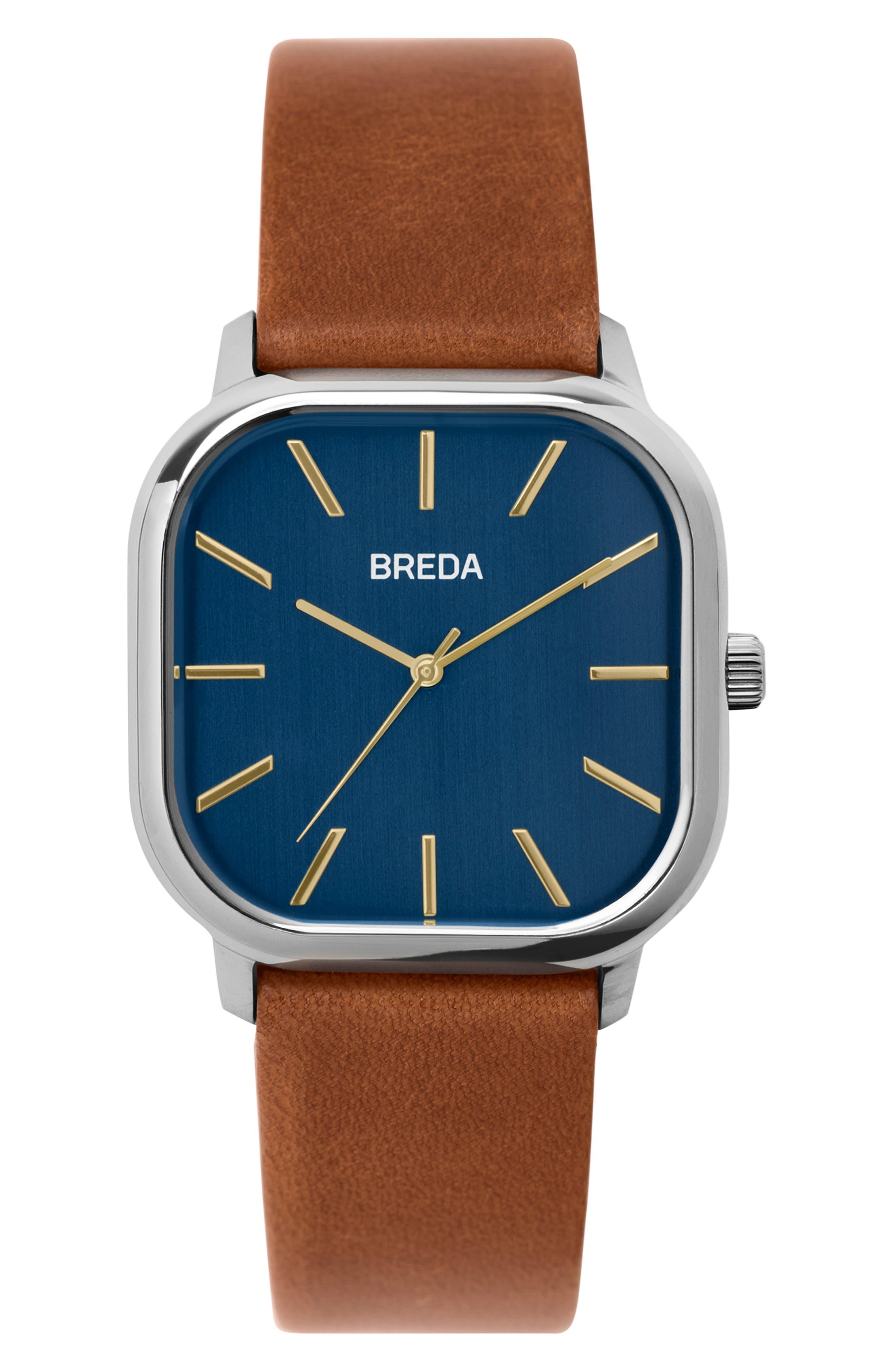 Visser Square Leather Strap Watch