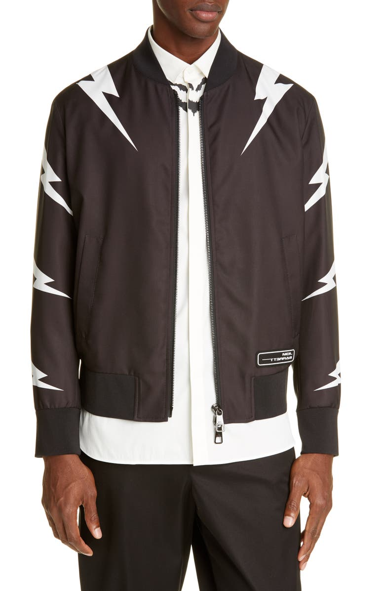 NEIL BARRETT Thunderbolt Slim Fit Bomber Jacket, Main, color, BLACK/WHITE