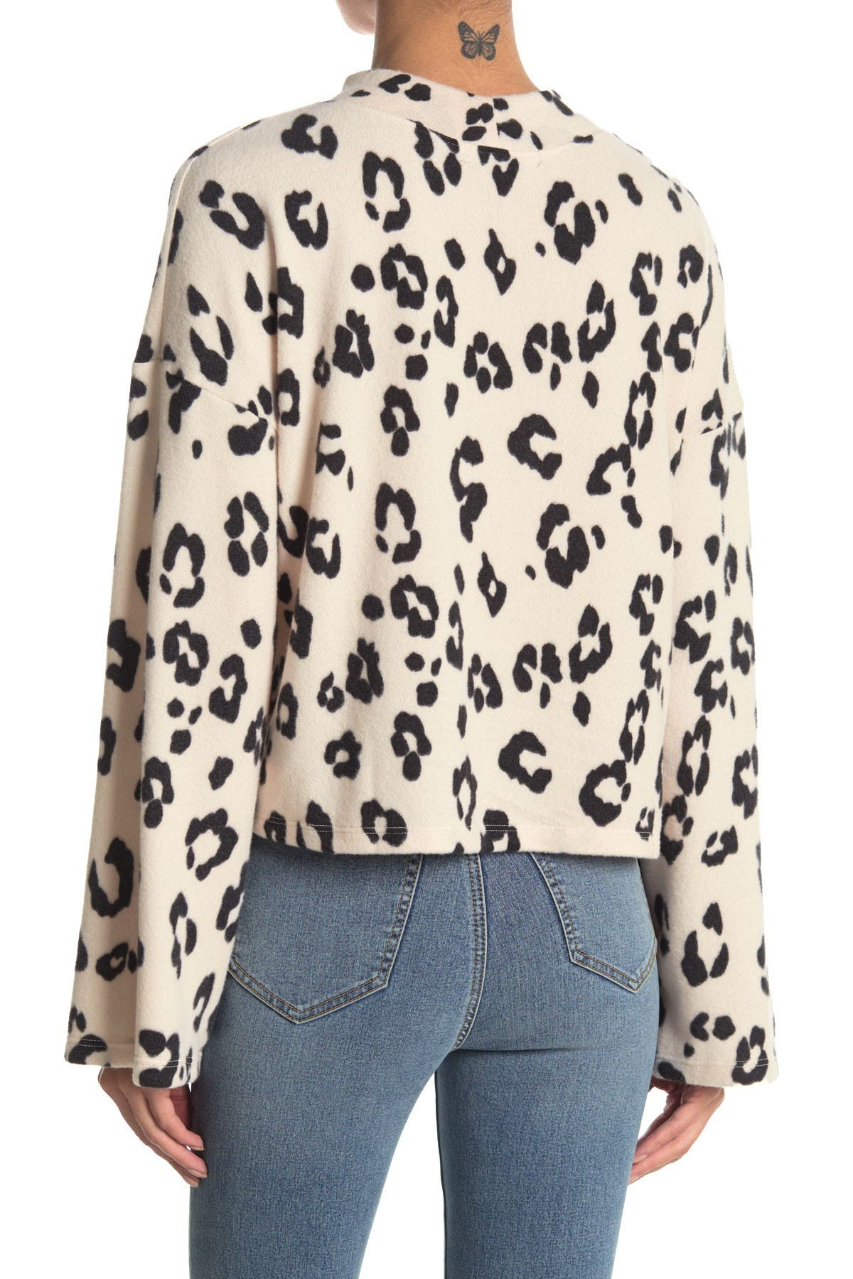 Image of GOOD LUCK GEM Bell Sleeve Fleece Leopard Print Sweatshirt
