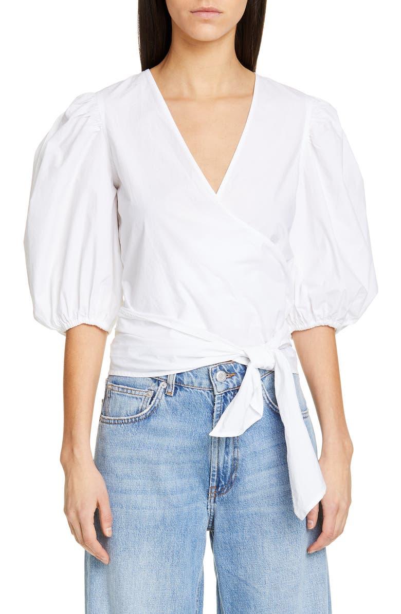 GANNI Cotton Poplin Wrap Blouse, Main, color, BRIGHT WHITE