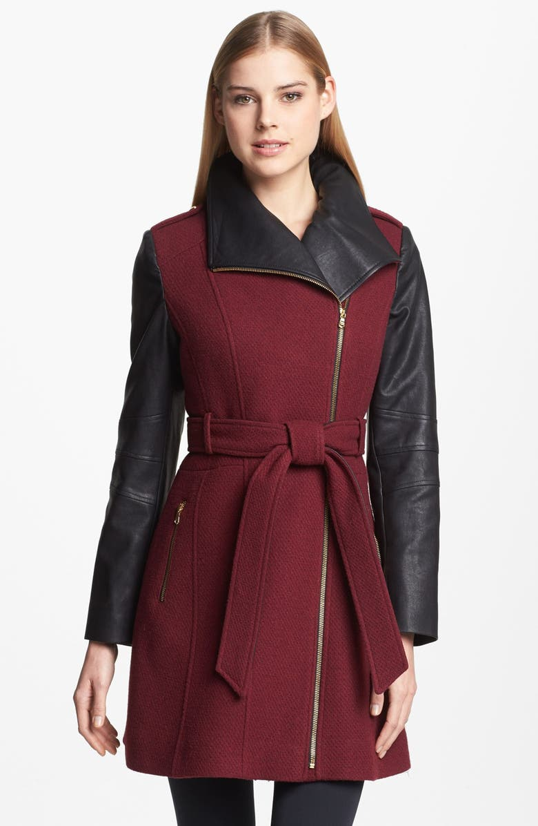 GUESS Asymmetrical Textured Wool Blend & Faux Leather Coat, Main, color, 930