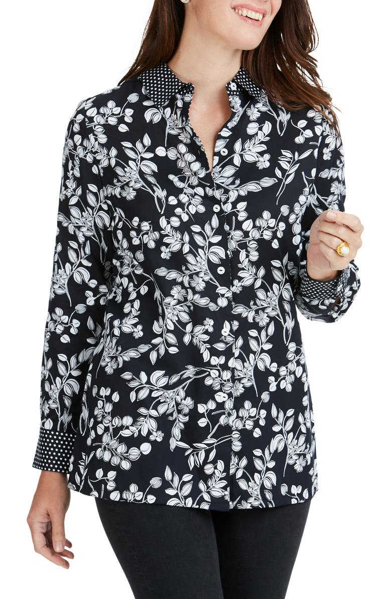 FOXCROFT Libby Whimsy Floral Print Top, Main, color, BLACK
