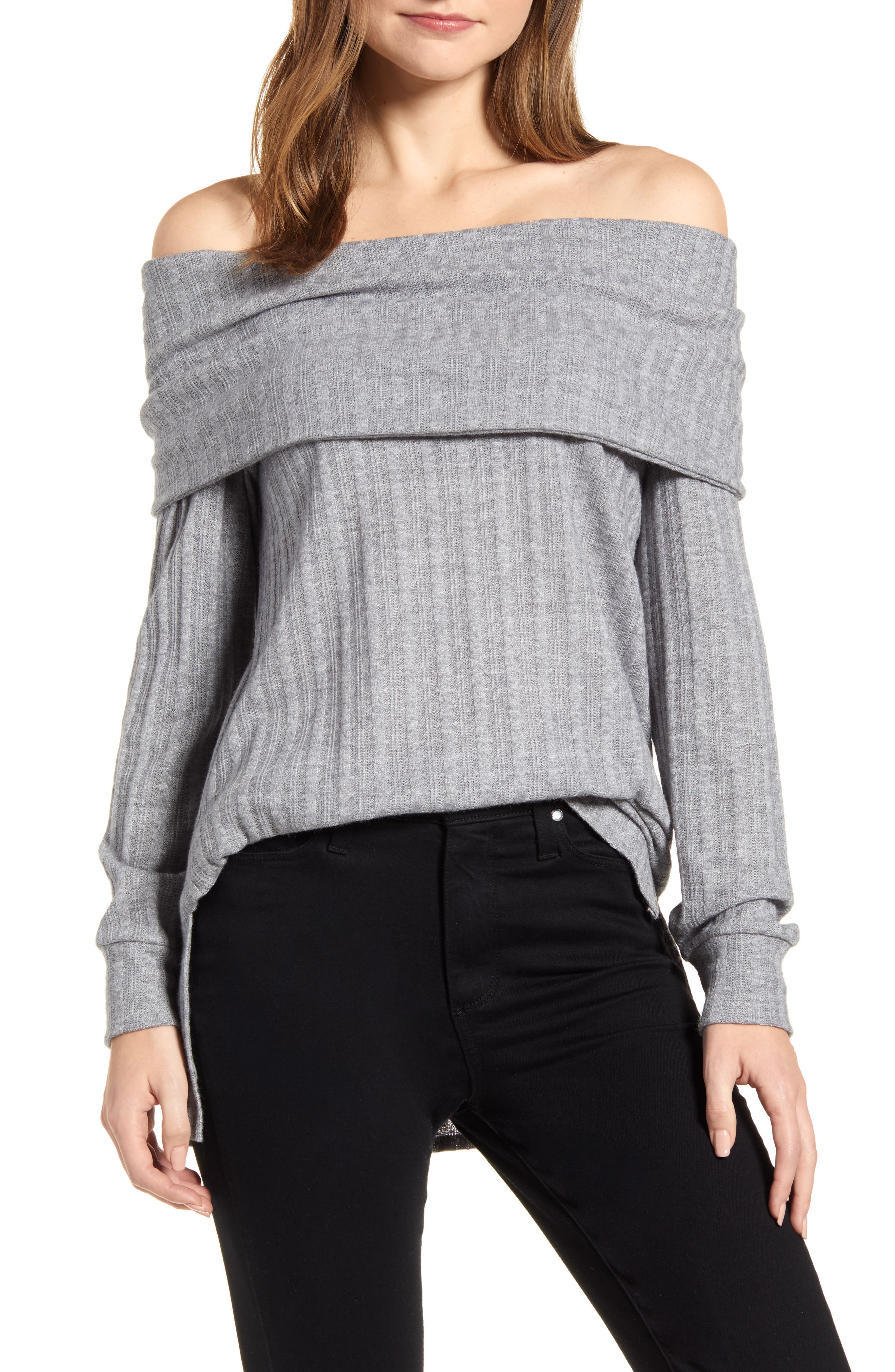 Women's Loveapella Ribbed Pointelle Off The Shoulder Top