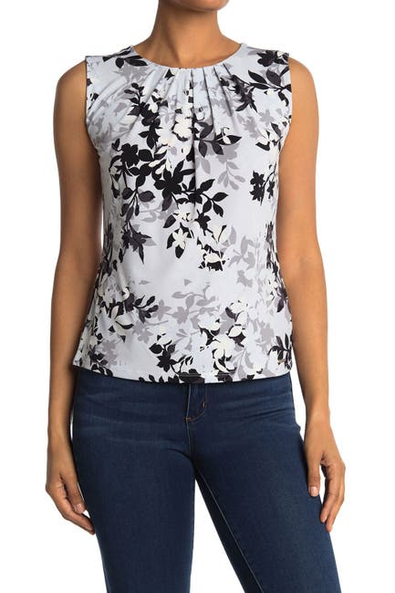 Image of Calvin Klein Printed Pleated Neck Sleeveless Top