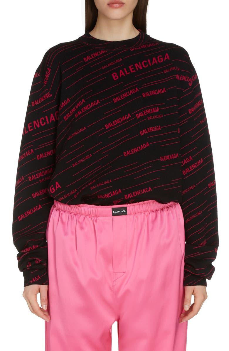 BALENCIAGA Logo Jacquard Wool Blend Sweater, Main, color, BLACK/ FUCHSIA
