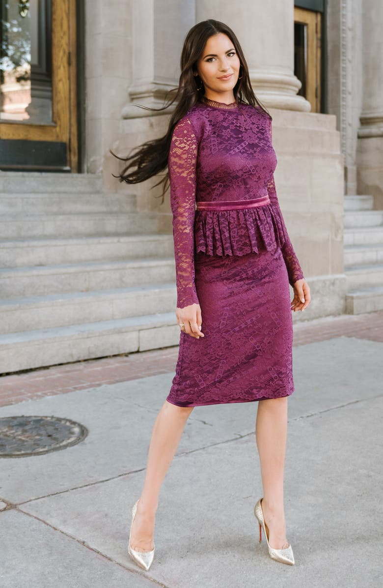 RACHEL PARCELL Cambridge Long Sleeve Lace Dress, Main, color, PURPLE NECTAR