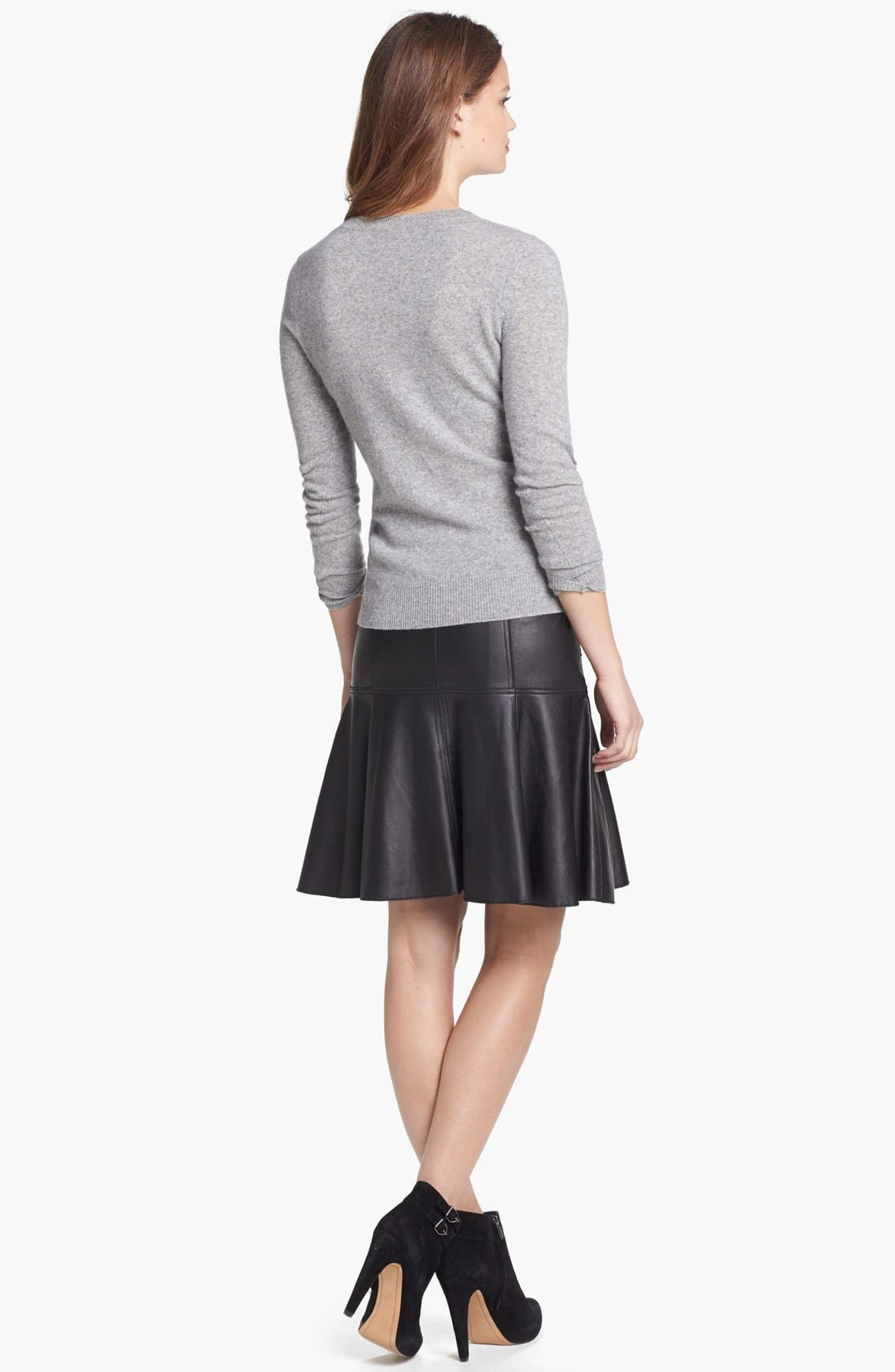 ,                             Leather A-Line Skirt,                             Alternate thumbnail 6, color,                             001
