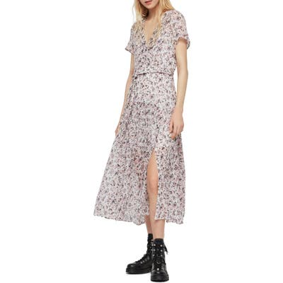 Allsaints Alix Freefall Floral Print Midi Dress, Ivory