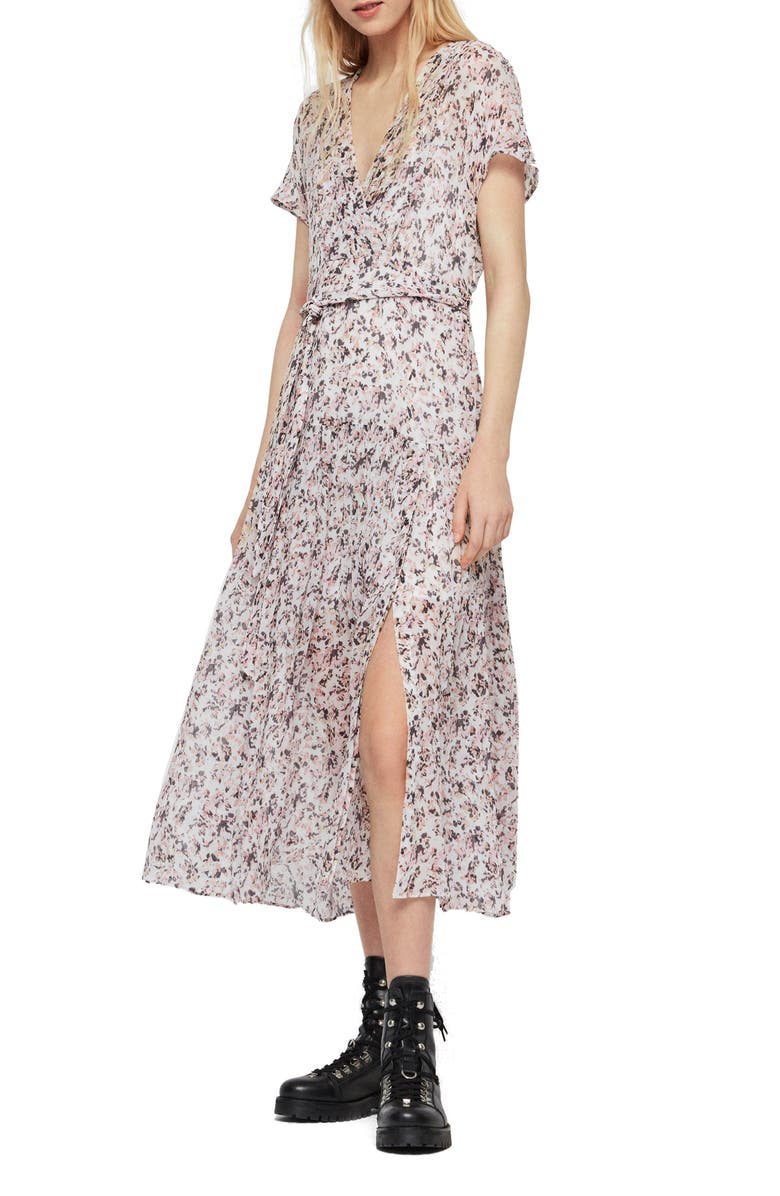ALLSAINTS Alix Freefall Floral Print Midi Dress, Main, color, CHALK WHITE