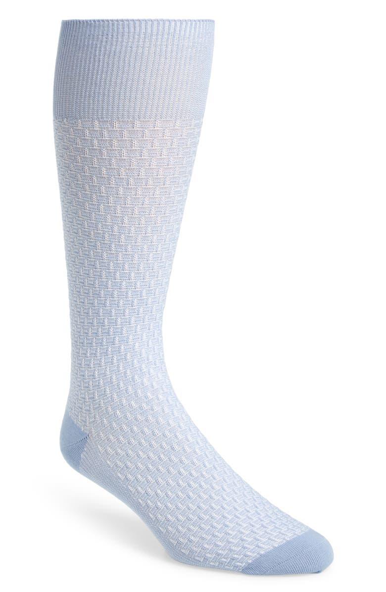 COLE HAAN Dog Bone Texture Crew Socks, Main, color, BLUE