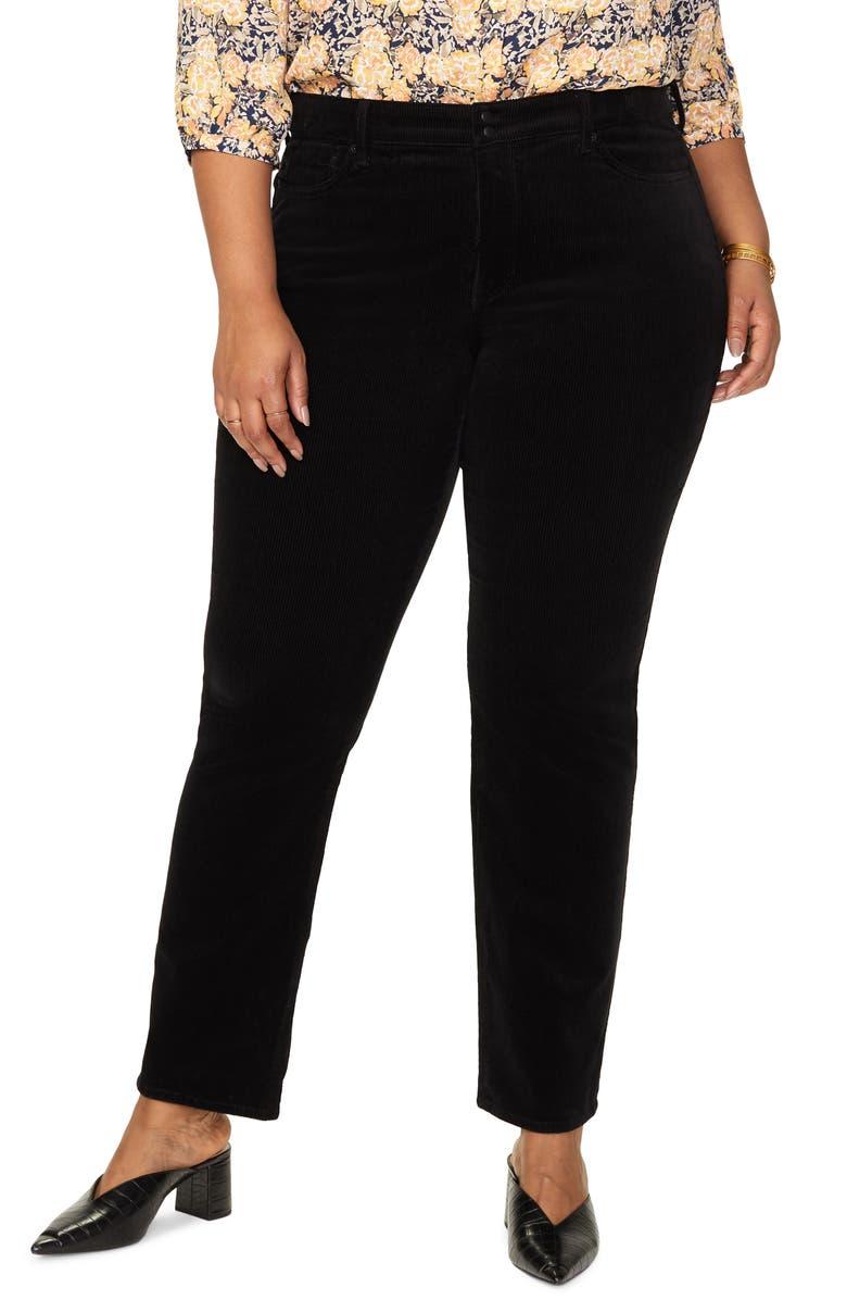 NYDJ Marilyn Straight Leg Corduroy Pants, Main, color, BLACK