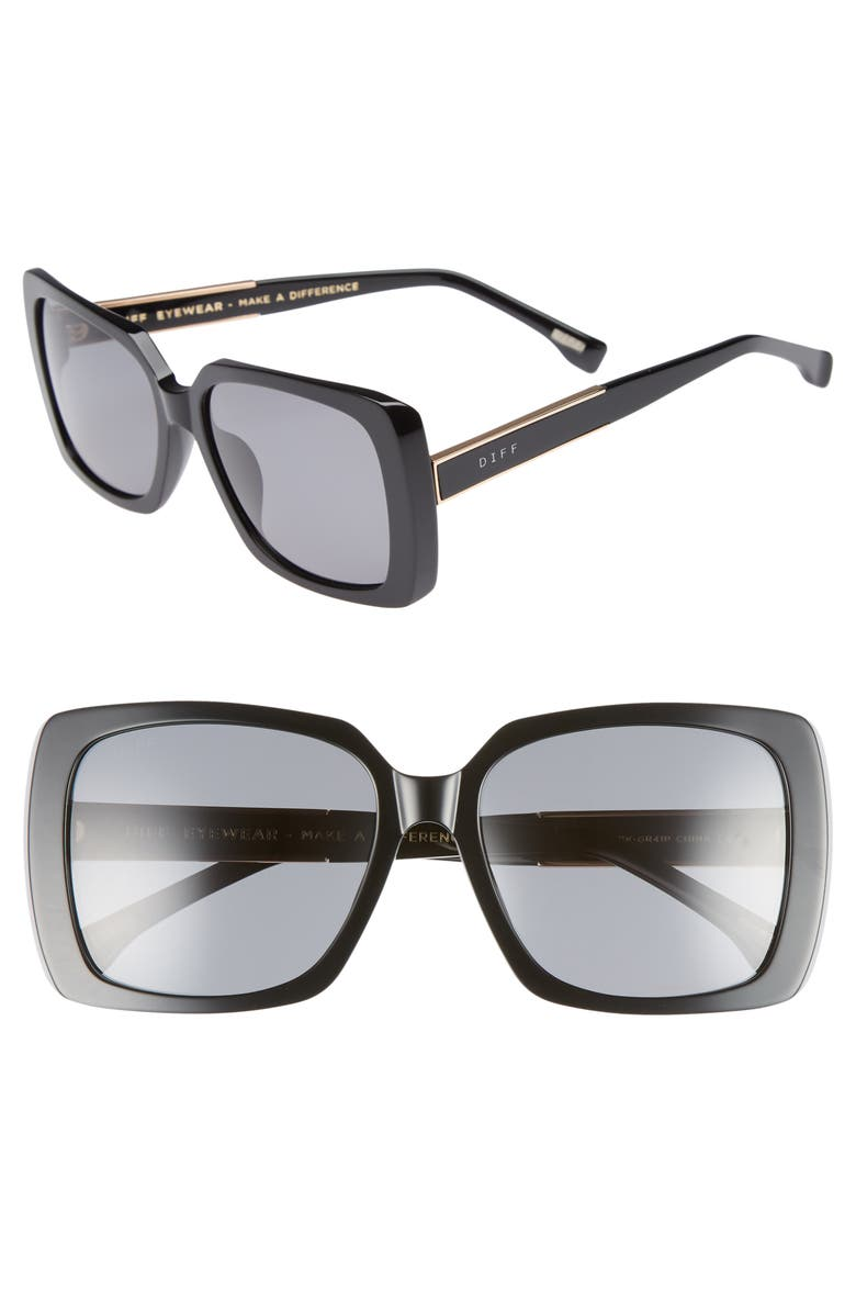 DIFF Sophie 52mm Polarized Sunglasses, Main, color, 001