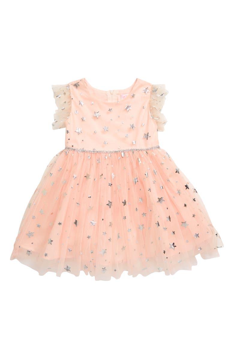 POPATU Foil Star Tulle Dress, Main, color, PEACH