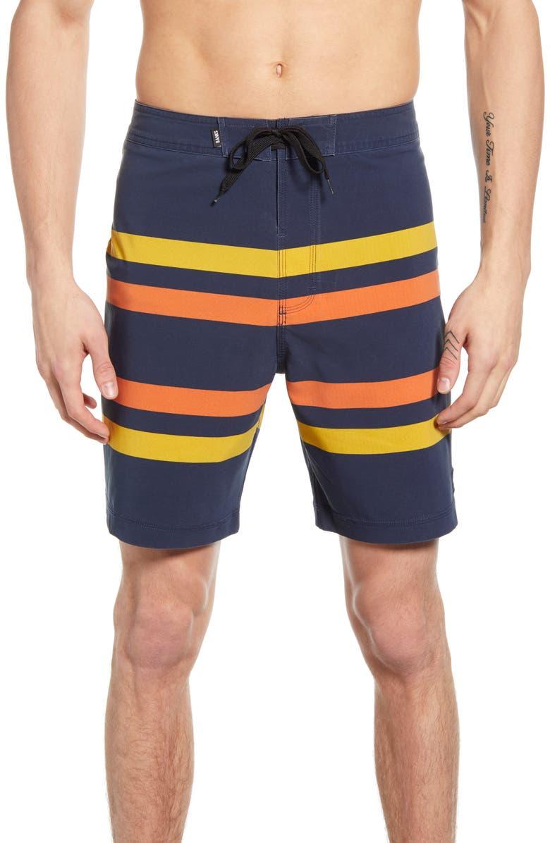 BANKS JOURNAL Malibu Stripe Board Shorts, Main, color, DIRTY DENIM