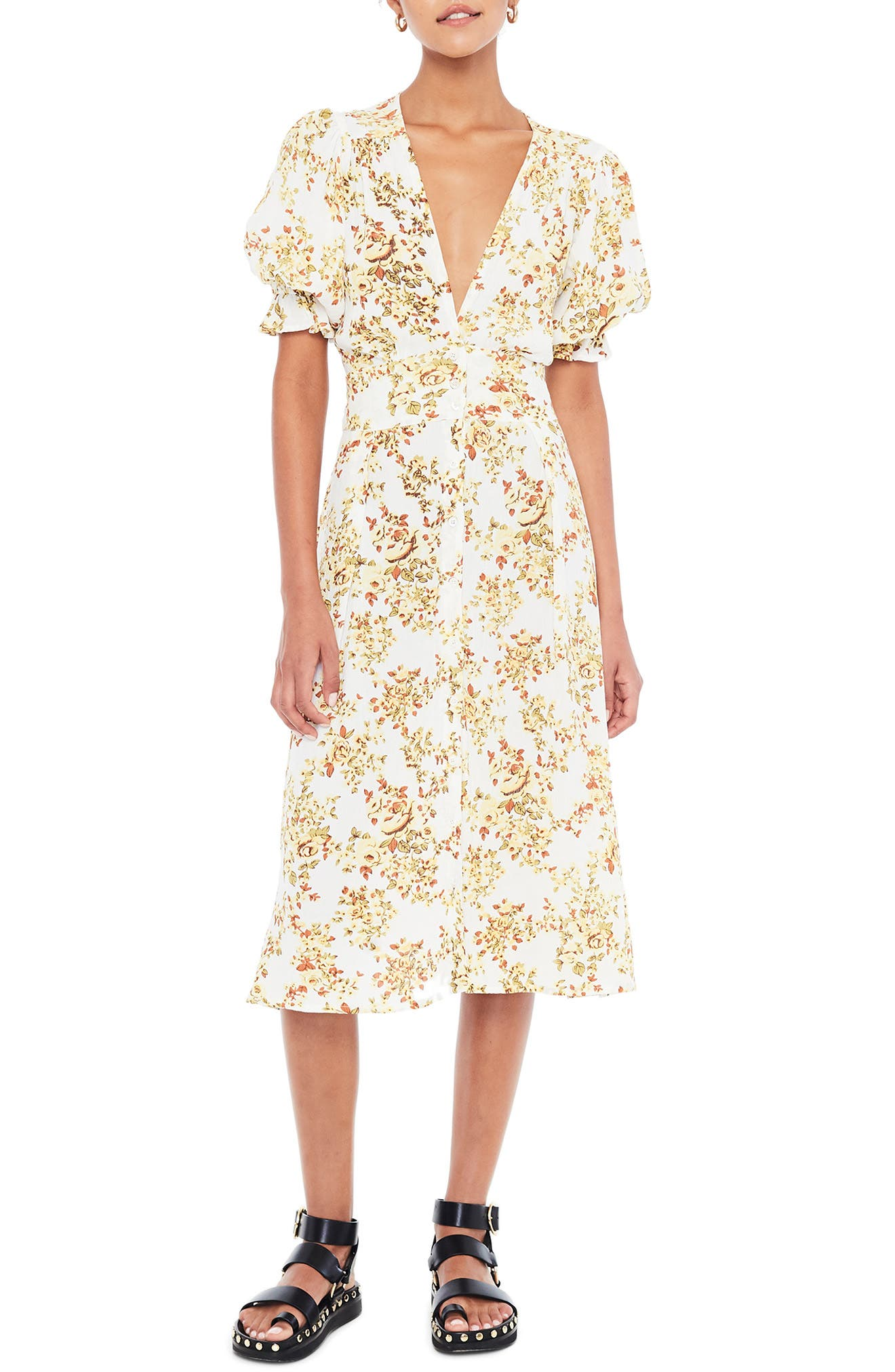 Faithfull The Brand Rafa Floral Midi Dress, White