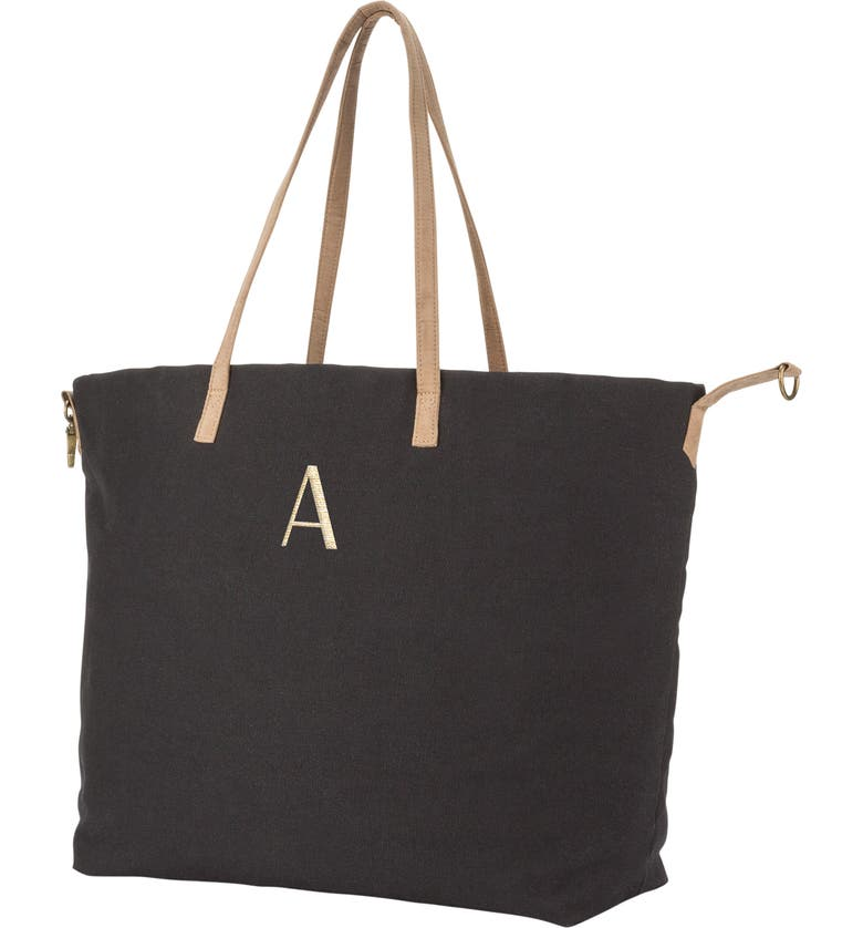 CATHY'S CONCEPTS Monogram Overnight Tote, Main, color, BLACK A