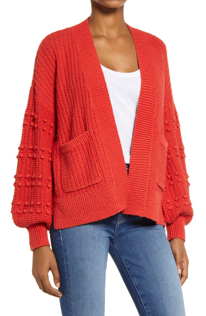 MADEWELL Bobble Cardigan Sweater, Main, color, KILT RED