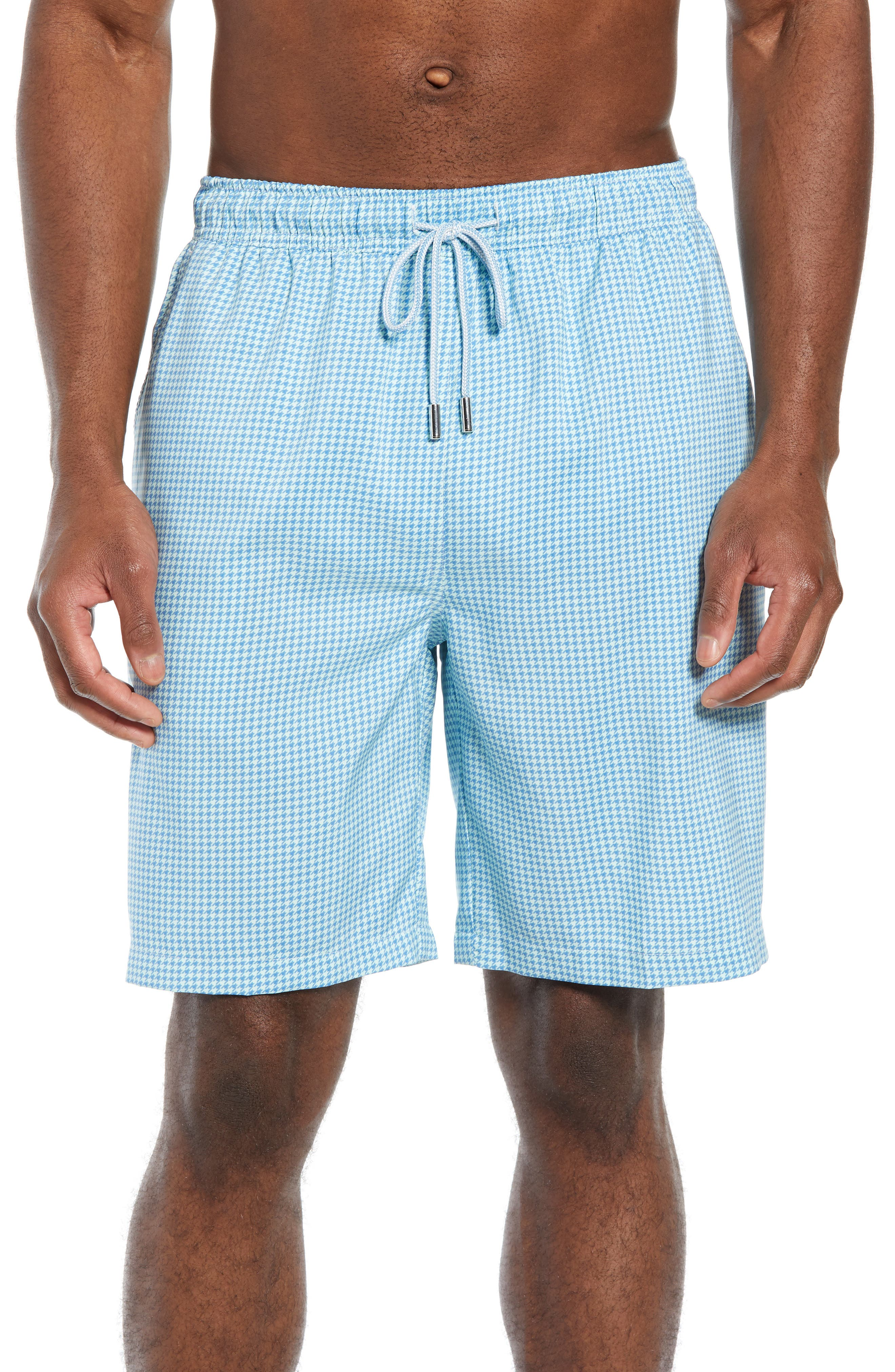 Peter Millar Sea Glass Houndstooth Swim Trunks, Blue
