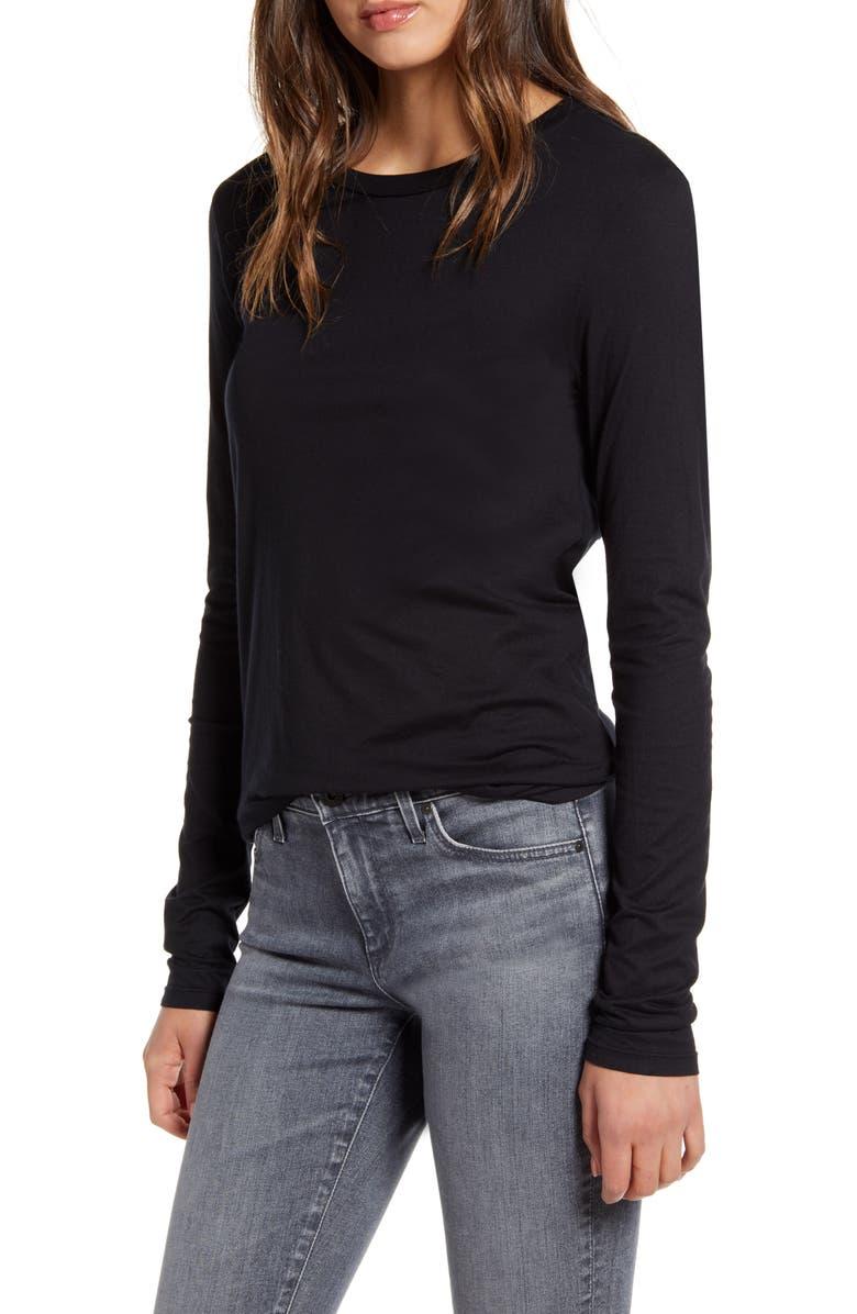 AG LB Long Sleeve Stretch Cotton Top, Main, color, TRUE BLACK