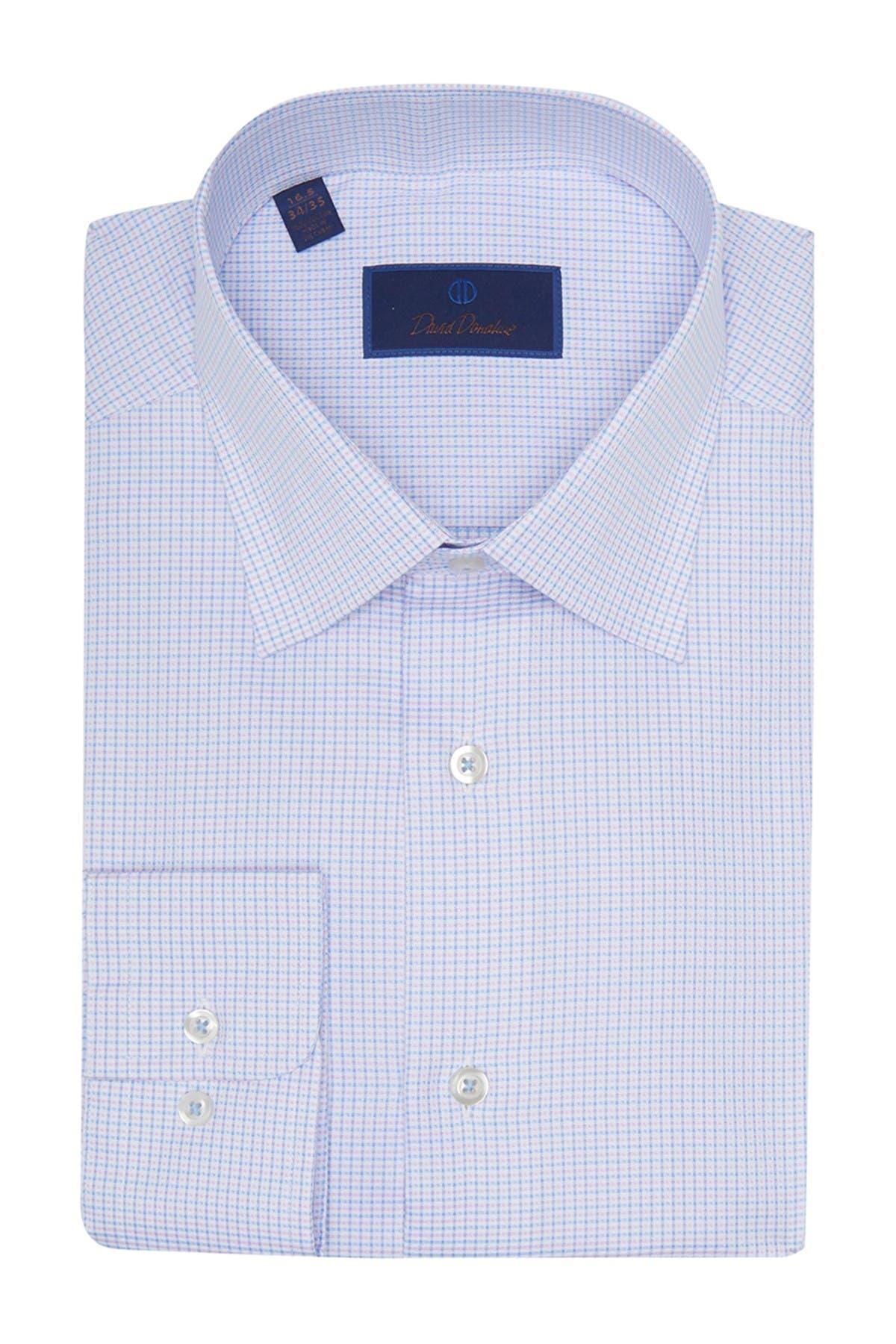 Image of David Donahue Regular Fit Grid Dress Shirt