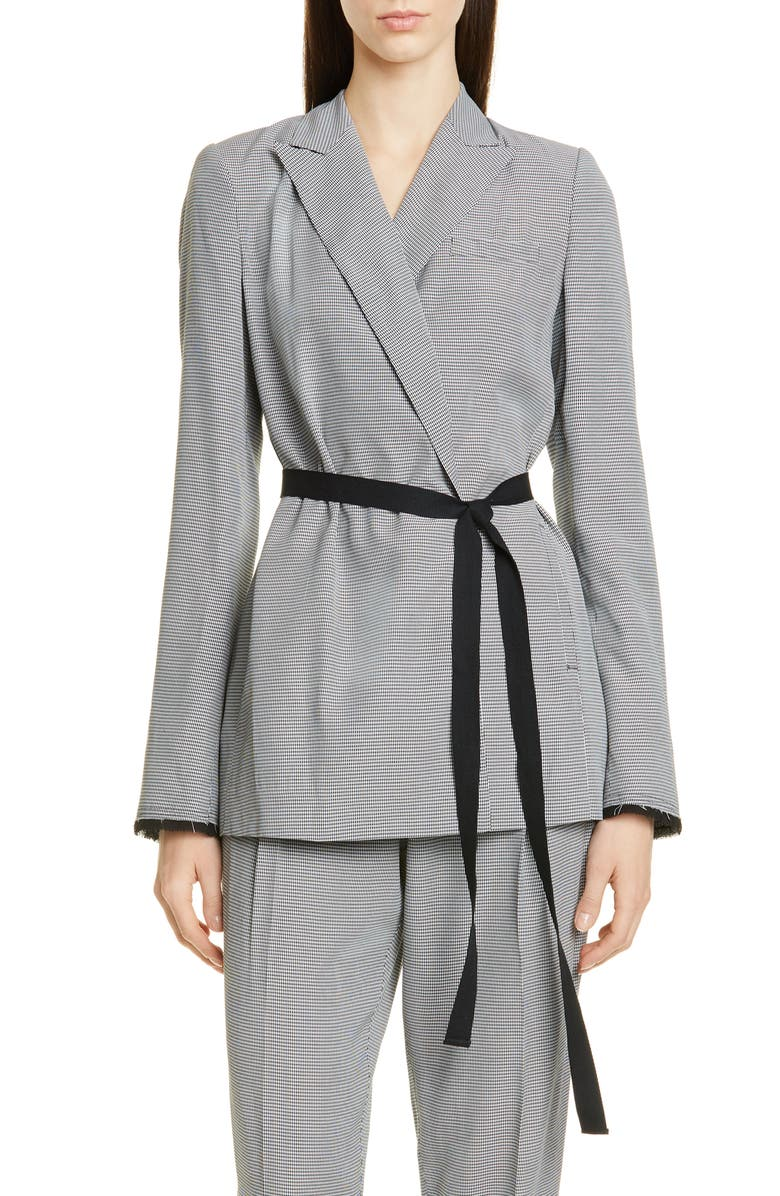 JASON WU Mini Check Soft Belted Blazer, Main, color, 100