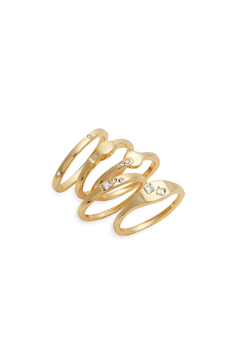 HALOGEN<SUP>®</SUP> Set of 5 Stacking Rings, Main, color, CLEAR- GOLD