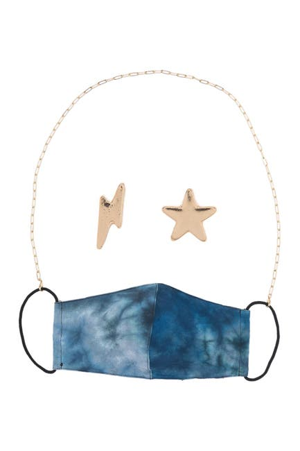 Image of Panacea Gold Chain Tie Dye Print Face Mask, Mask Chain, & Stud Earrings 3-Piece Set
