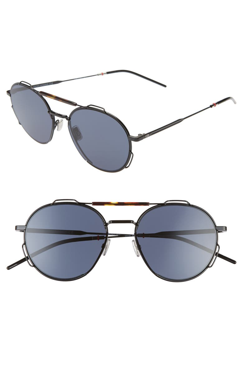 DIOR 54mm Round Sunglasses, Main, color, BLACK HAVANA