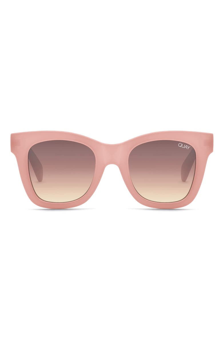 QUAY AUSTRALIA After Hours 50mm Square Sunglasses, Main, color, PINK/ BROWN