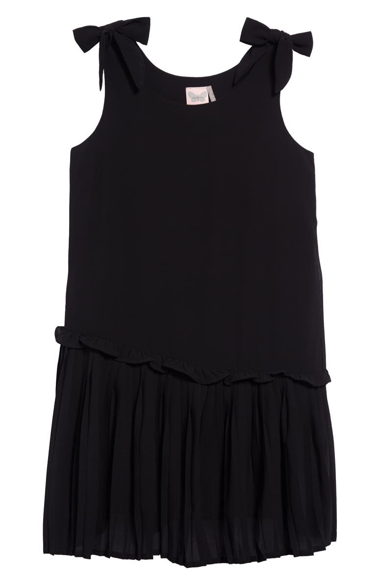 FOR ALL SEASONS Sleeveless Pleat Shift Dress, Main, color, BLACK