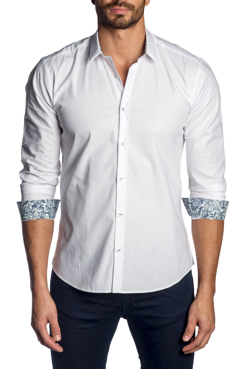 JARED LANG Slim Fit Button-Up Sport Shirt, Main, color, WHITE JACQUARD