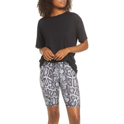 Socialite Boxy Tee & Bike Shorts Pajamas, Black