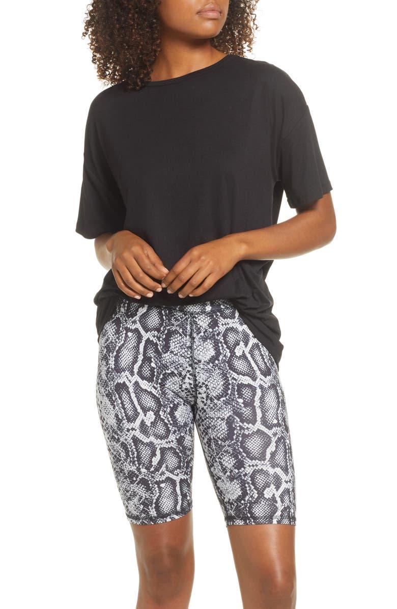 SOCIALITE Boxy Tee & Bike Shorts Pajamas, Main, color, BLACK