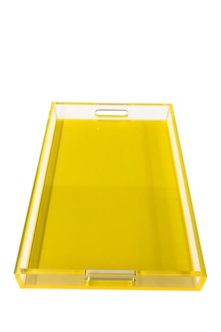 Image of R16 HOME Neon Yellow Square Lucite Tray
