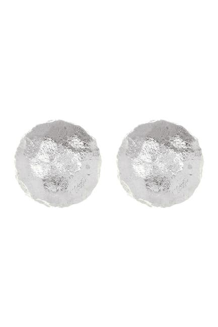 Image of Rivka Friedman White Rhodium Clad Round Hammered Satin Stud Earrings