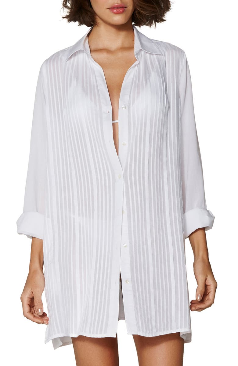 VIX SWIMWEAR Jacque Cover-Up Shirtdress, Main, color, WHITE