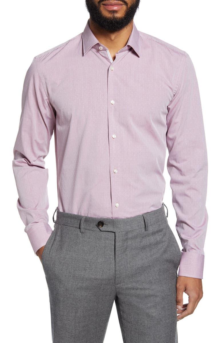 BOSS Jesse Slim Fit Check Dress Shirt, Main, color, DARK RED