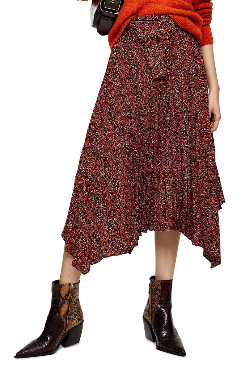 TOPSHOP Tiny Leopard Pleated Belted Midi Skirt, Main, color, RED MULTI