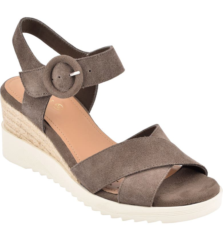 EVOLVE Zayne Wedge Sandal, Main, color, DARK GREY SUEDE