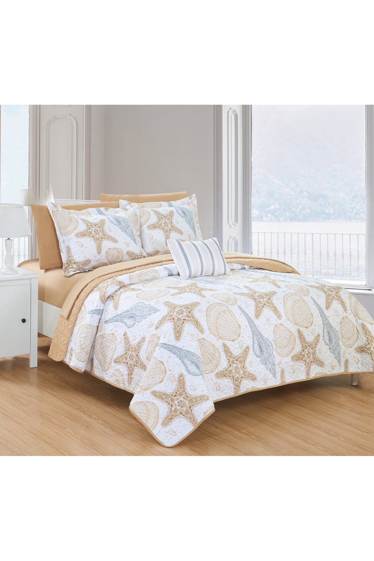 Image of Chic Home Bedding Queen Gaetan Reversible Maritime Theme Embossed Quilt Set - Multi Color