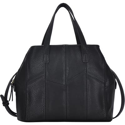 Antik Kraft Patchwork Faux Leather Satchel - Black