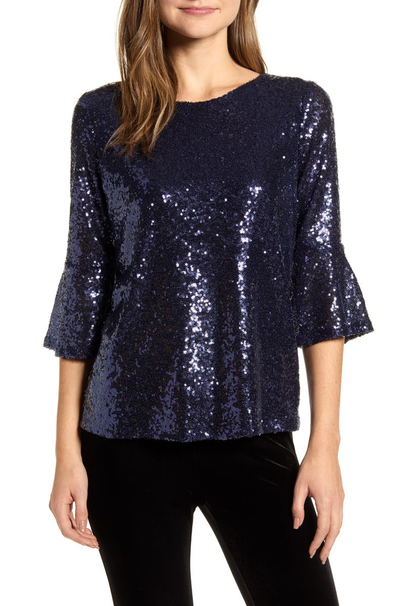 GIBSON x Glam Living in Yellow Bell Sleeve Sequin Top, Main, color, MOONLIGHT BLUE