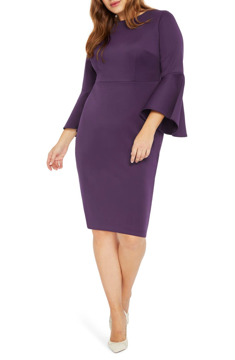 ELOQUII Flare Sleeve Scuba Sheath Dress, Main, color, DEEP PURPLE