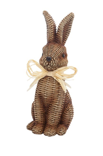 Image of Transpac Large Brown Mockwicker Bunny
