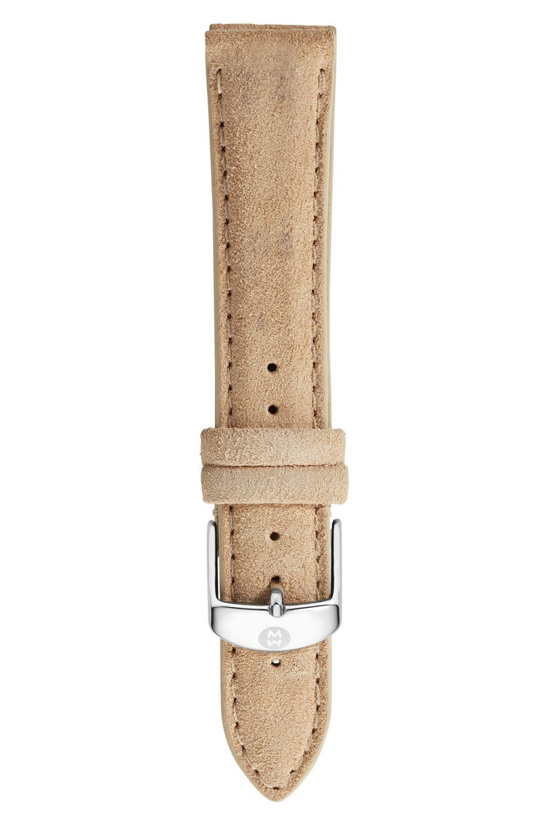 MICHELE 18mm Nubuck Leather Watch Strap, Main, color, 250