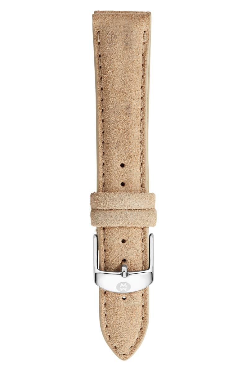 MICHELE 18mm Nubuck Leather Watch Strap, Main, color, BONE