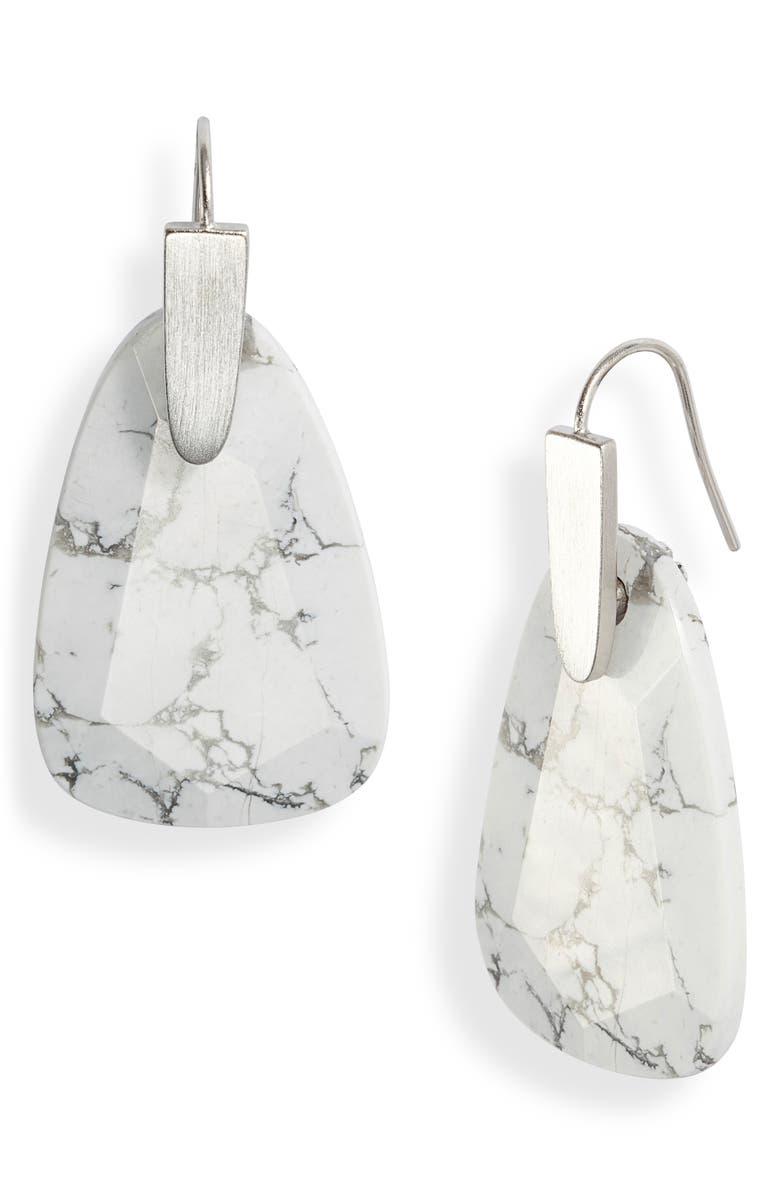 KENDRA SCOTT Marty Drop Earrings, Main, color, RHODIUM WHITE HOWLITE