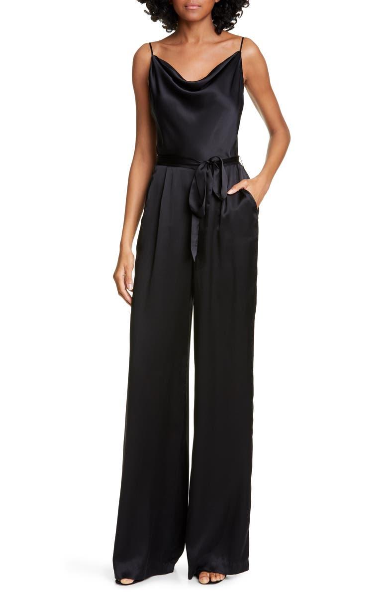 L'AGENCE Rannah Cowl Neck Silk Satin Jumpsuit, Main, color, BLACK