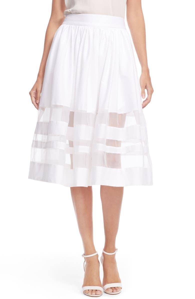 ALICE + OLIVIA 'Misty' Sheer Stripe Cotton Midi Skirt, Main, color, 100